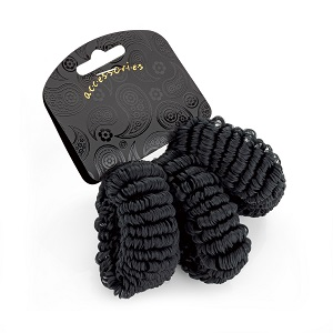 3 Piece Elasticated Hair Donut - Black