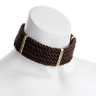 Gold Colour Brown Platted Choker Necklace