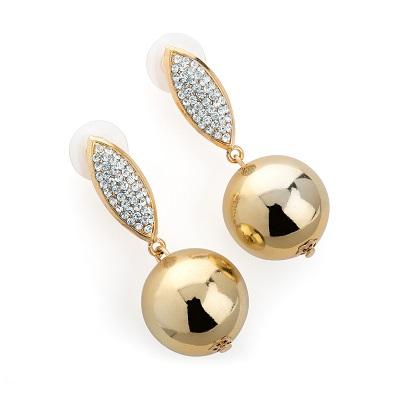 Gold Colour Crystal Ball Design Drop Earring
