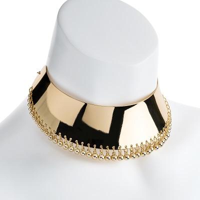 Gold Colour Ball Tassel Collar Necklace