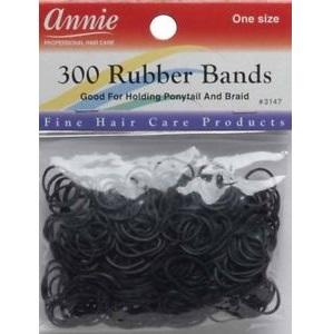 12x Annie Rubber Bands 300pcs - Black (1 Dozen)