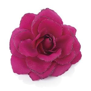 Rose Flower Glitter Hair Elastic & Clip - Fuchsia