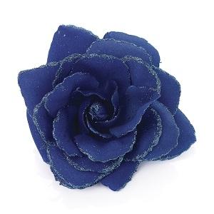 Rose Flower Glitter Hair Elastic & Clip - Royal Blue