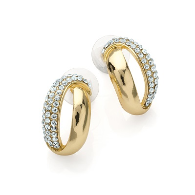 Glamourous Gold Colour Crystal Stud Earring