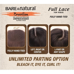 "Bare & Natural Brazilian HH 4""X4"" Full Lace Top Piece Closure 12"" - Natural Black"