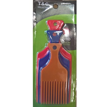 T&G 3Pcs Afro Plastic Pik Comb - Assorted Colour