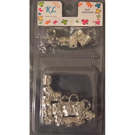 METAL FILGIRI BRAID CUFFS TUBES WITH CRYSTALS -SILVER