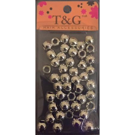 T&G Hair Beads Silver Large