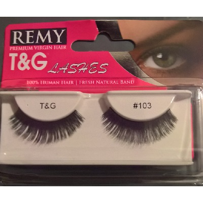 T&G Remy Human Hair Strip Eyelashes  (#103)