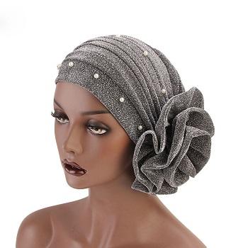Flower Beaded Glitter Turban Women