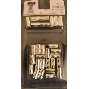 Braid Hair Cuffs (A Pack Of 28 pieces) - Silver - Large